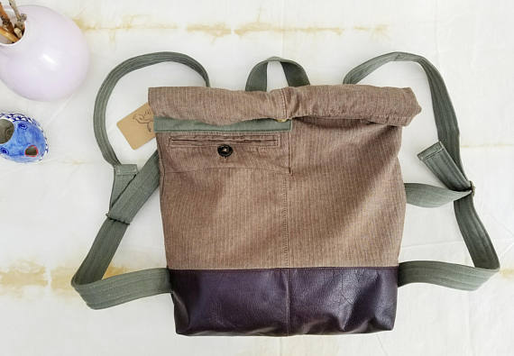Backpack – Rucksack – Upcycled bag – Brown