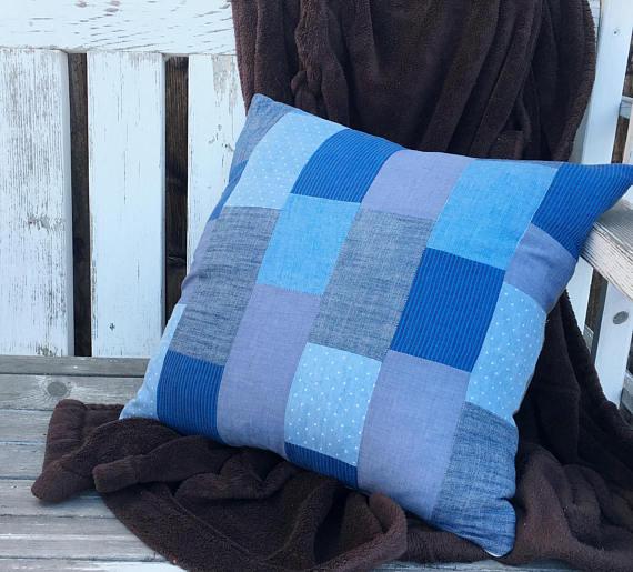 Blue Patchwork Pillow