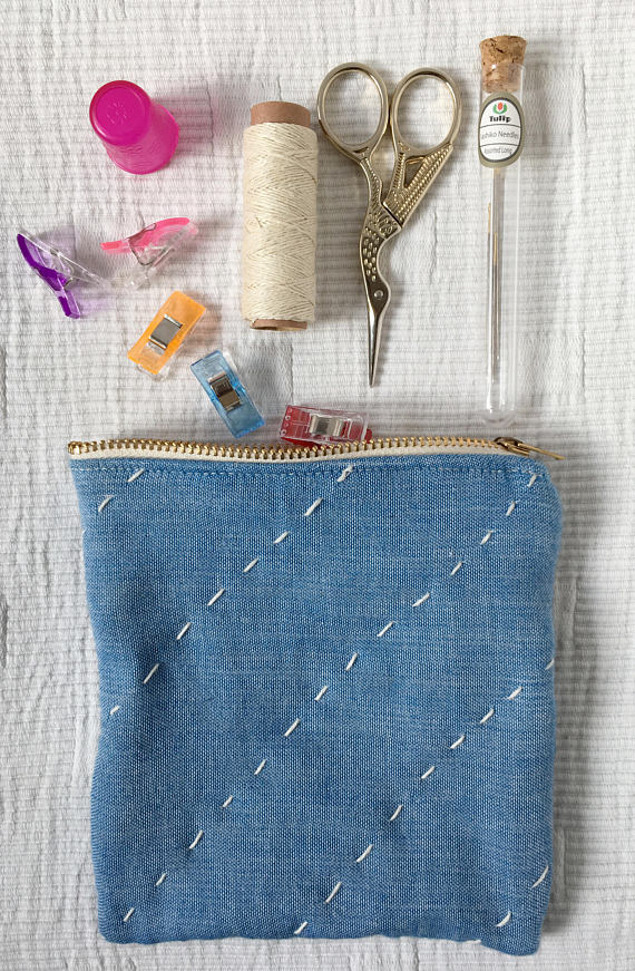 Blue zipper pouch – coin purse – hand stitched – hand quilted – upcycled