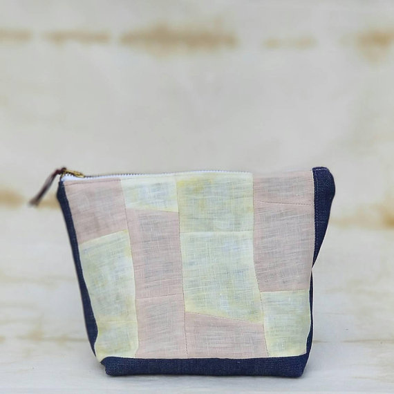 Hand Dyed Patchwork Zipper Pouch