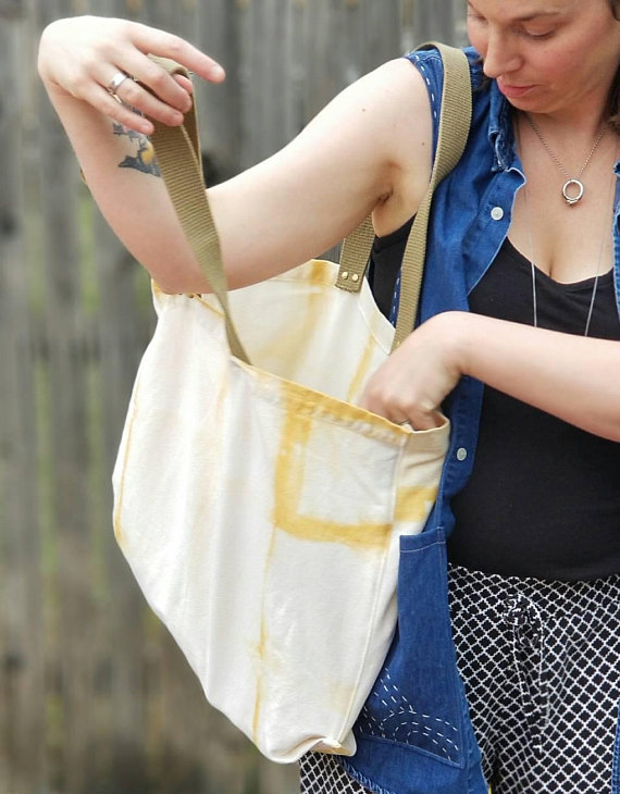 Hand Dyed Canvas Tote Bag