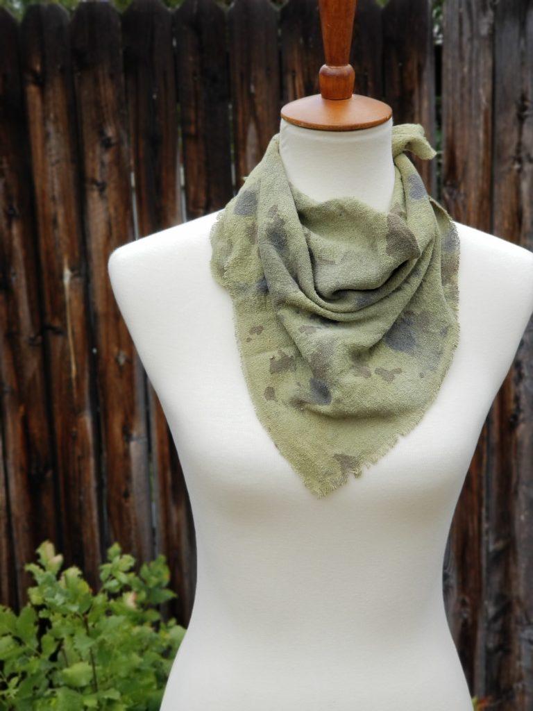 Raw Silk Noil Bandana Scarf – Botanically Dyed and Hand Painted