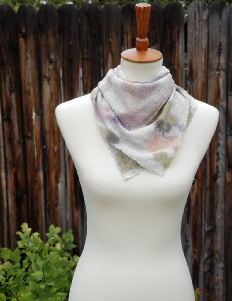 Raw Silk Noil Bandana Scarf – Botanically Dyed and Hand Painted