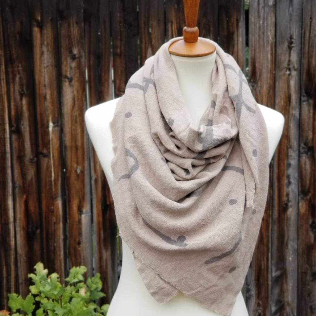 Raw Silk Noil Blanket Scarf – Botanically Dyed and Hand Painted